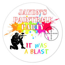 24 x Peronsalised Paintball Party Stickers IT WAS A BLAST - Gloss Labels