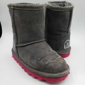 BearPaw Elle Gray Pink Ankle Wool Blend Side Zip Boot Girls Toddler Size 9- READ