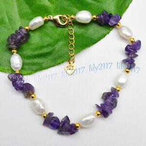 Natural Purple Amethyst Gravel Gemstone&7-8mm White Baroque Pearl Bracelet 7.5''