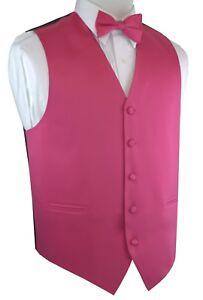 Men's Solid Satin Fuchsia Tuxedo Vest & Bow-Tie Set. Formal Dress Wedding Prom