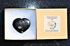 [1] Greenlandic Nuummite Crystal Puffy Heart / Palm Stone Reiki ZENERGY GEMS™