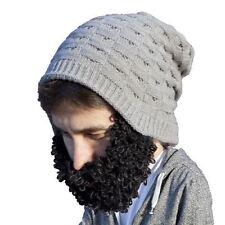 Beard Head Curly Beckett Grey Beanie With Black Removable Beard