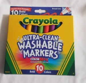 Crayola Ultra-Clean Color Max Broad Line Washable Markers Bold Colors 10 CT~NEW