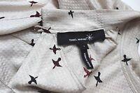 "Isabel Marant Cream Bird Print Silk ""Gover"" Shirt Tunic Oversized Dress 1 uk 8"