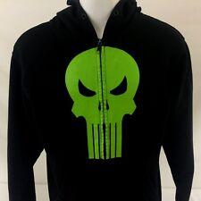 Marvel Punisher Mens Full Zip Hoodie Large Green Skull Cotton Polyester Blend
