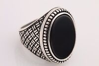 Turkish Handmade Jewelry Oval Black Onyx 925 Sterling Silver Men's Ring 8