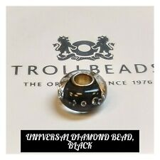 TROLLBEADS AUTHENTIC UNIVERSAL DIAMOND BEAD, BLACK