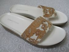 DONALD J PLINNER FIFI WHITE & BROWN PLATFORM SANDALS SIZE 8 1/2 M - NEW