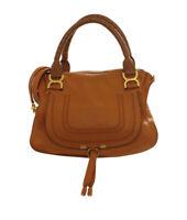 Chloe Medium Marcie Cognac Leather 2- Way Satchel Bag