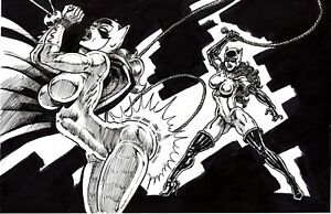 "Sexy Catwoman vs. Bat girl_3_11'X17"" Art Work B&W_JLA/BATMAN"