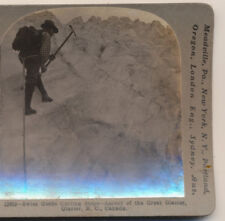 Ice Climbing Swiss Guide Cutting steps Great Glacier BC Canada Stereoview c1900