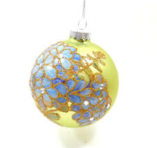 Midwest-Cbk Forget Me Not Hand Painted Oversized Ornament Glass 143748