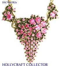 38282a - HOLLYCRAFT 1950 Pink Rhinestones Grape Style Necklace/Pendant