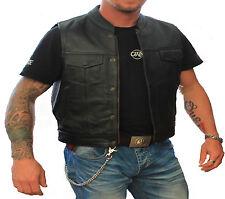 Hommes Cuir Gilet Biker Blouson moto rocker en cuir.Motard veste en cuir 4XL