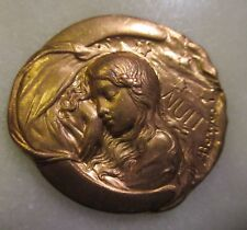"Armand Bargas Art Nouveau ""Nuit"" Brass Cameo; Rare Early 20th Century French"