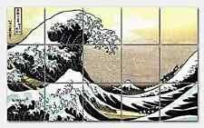 Hokusai Great Wave off Kanagawa Ceramic Mural Backsplash Kitchen 30x18 in