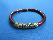 Metal And Brass Wire Bracelet A Kenya African Ethnic Jewelry Burgundy Plated