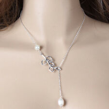 Statement Choker Silver Chain NecklaceXuefe Lady's Chic Simple Leaves Pearl