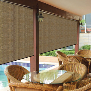 Cordless Outdoor Roller Shade 10X8 ft. Exterior Roll Up Blind Fabric Large Brown