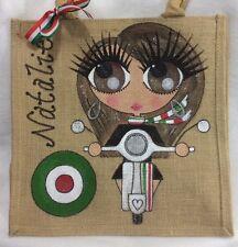 Personalised Handpainted Italian Vespa Jute Handbag Hand Bag Gift - Italy Theme