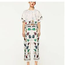 RARE ZARA FLORAL LEAF EMBROIDERED LINEN CULOTTES PANTS TROUSERS REF:7521/058