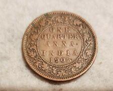 1905 India 1/4 Anna coin