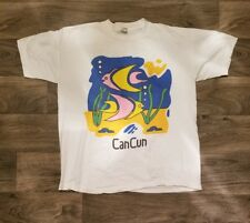 Vintage Style Cancun Resort Vacation Destination T Shirt Fish Blue White Pink XL