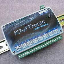 KMTronic USB 8 reles circuito, DIN rail MICROCHIP CDC