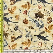 Dinosaur Fossil T-Rex Bone Earth Cotton Elizabeth Studio Fabric 1/4 yd off bolt