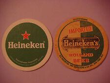 2 Beer Bar Coasters ~ 1 Thick Vintage ~ ~ HEINEKEN Lager ~ ~ Amsterdam, HOLLAND