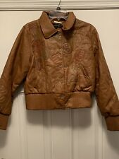 Rocawear Brown Leather Jacket Embroidered Embellished Women's Large