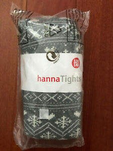NWT Hanna Andersson Girls 130 140 Gray White Fair Isle Snowflake Tights New