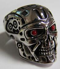 ROBOT SKULL HEAD W RED EYES STAINLESS STEEL RING size10 silver metal S-527 biker