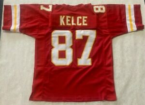 UNSIGNED CUSTOM Sewn Stitched  TRAVIS KELCE RED Jersey - XL