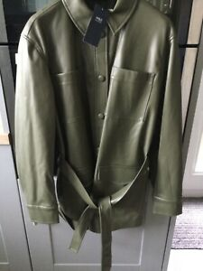 New M&S Hunter Green Belted Faux Leather Coat/Jacket  Size 16 RRP £55