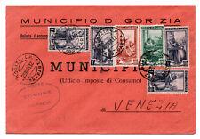 1951 ITALIA AL LAVORO BUSTA MULTIAFFRANCATA COMUNE GORIZIA