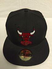 Brand New Chicago Bulls NBA Fitted New Era Hat 7-1/8 Black/Red/White