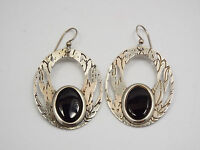 Vintage Artisan Silver Cut Out Design & Black Onyx Oval Dangle Earrings