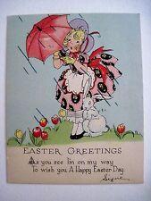 Vintage Little Easter Card w/ Rainy Day & Girl w/Umbrella & Bunny *