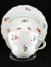 Meissen Streublume Bunte Blume Kaffeegedeck Gedeck Goldrand Kuchenteller