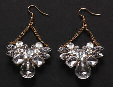 Sparkly Diamante Encrusted Flower Centre & Golden Chain & Hook Earrings(Ns18)