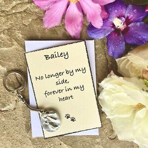 Pet Loss Angel Keyring & Personalised Note, Cat, Dog Memorial Token Gift