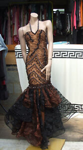 Rare & Exquisite Mermaid Style Full Length Long Black & Brown Dress Evening Gown