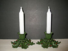 Antique Pair Cast Iron Holly Berry Candle Holders Metal Art 1920's-30's