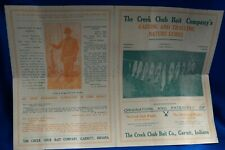 VINTAGE CREEK CHUB BAIT CO. CATALOG 4 PAGES HAS CHUB & CRAB WIGGLER IN IT !