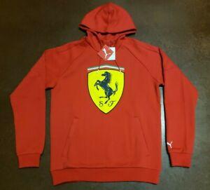 PUMA Men's Red Ferrari Big Shield Hoodie NWT Size Medium