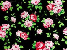 Remnant Black Pink Flowers Roses Polycotton Fabric Material 75 cm x 100 cm