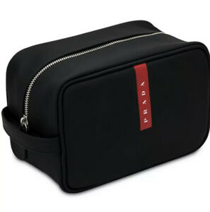 PRADA luna rossa black Pouch travel dopp kit toiletry bag case new in box