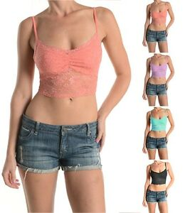 Spandex Lace Cropped Bra Cami With Adjustable Spaghetti Strap S, M, L