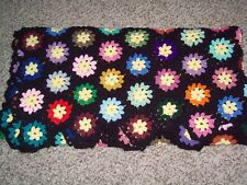 Crochet 60 x 67 afghan blanket throw multi colored handmade